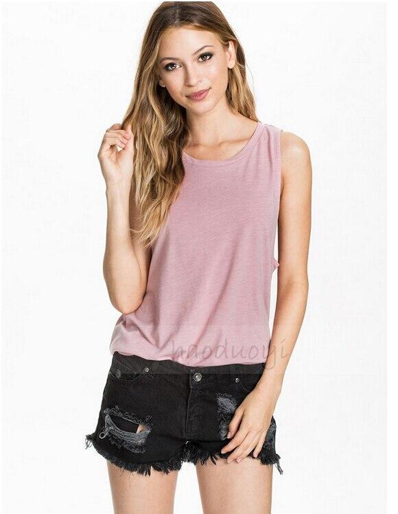 Fashion Ladies' stylish sexy blouses vintage V neck sleeveless shirts part transparent casual slim brand tops