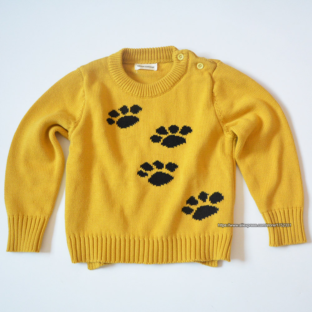 QUIKGROW-Thick-Warm-Baby-Boy-Girl-Sweater-Stylish-Yellow-Long-Sleeve-Cute-Puppy-Dogs-Paws-Pullover-Jumpers-Knitwear-YM07MY-2