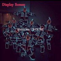 Luminous Kostiumy Podświetlane Świecące LED Garnitury Zakapturzonych Mężczyzn EL Ubrania Zimno Talent Pokaż DOPROWADZIŁY Światła Taśmy Mody Tańca Ubrania