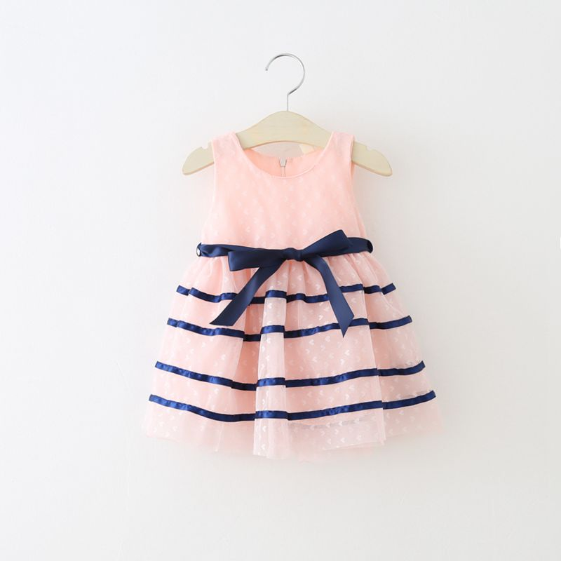 Baby Dresses For Girls Summer Princess Cute Cotton Voile Striped Baby Girls Clothing Lolita Dress For 0-24 M Kids With Bow Belt