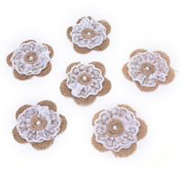5pcs Set Burlap Pearl Rose Flowers Embellishments For Weddings Decoration Hair Accessories Scrapbooking Or Crafts AA8097