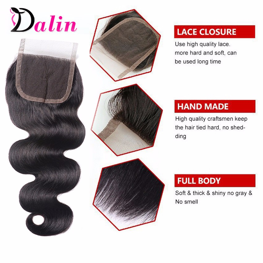 7A Brazilian Virgin Hair Body Wave Lace Closure Mink Brazilian Hair With Closure Rosa Hair Products 44Inch Lace Frontal Closure