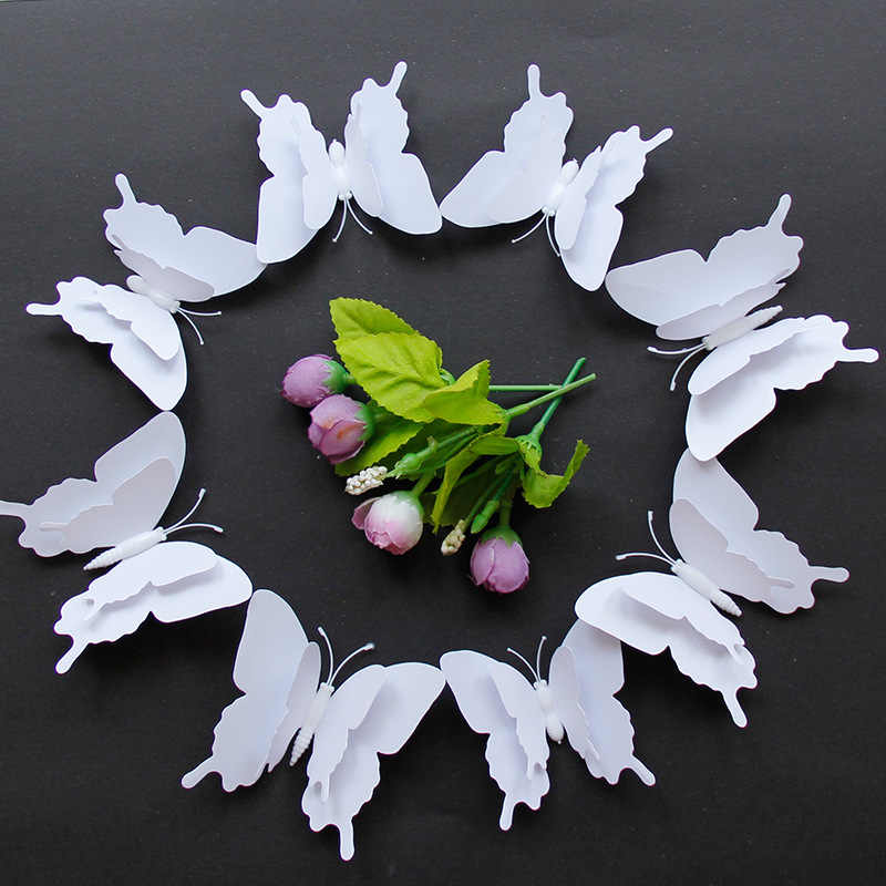 12Pcs 3D Butterfly Wall Sticker DIY White Butterflies Fridge Magnet Stickers Room Decoration Home Decor