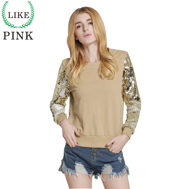 LIKEPINK 2017 New Spring Women Shirt Fashion Sexy Sequins Stitching Loose O-neck Ladies Sweater Personalized Gold Black Tops