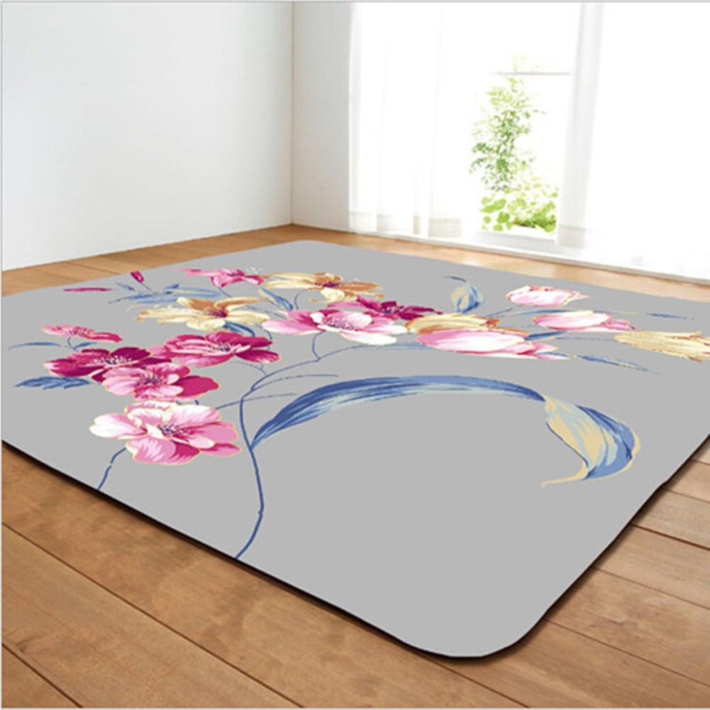 Fleurs romantiques imprimé tapis pour salon maison chambre décor tapis bain tapis de sol anti-dérapant tapis enfants ramper Tapetes tapis