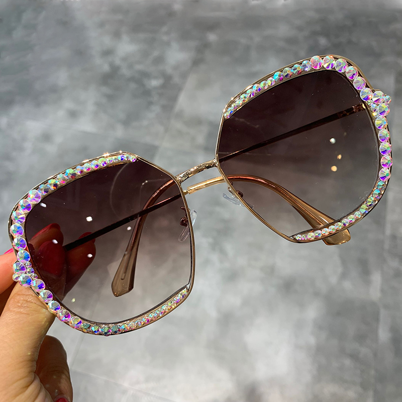 Sunglasses Clear-Lens Square Oversized Rhinestone Vintage Shades Women Luxury