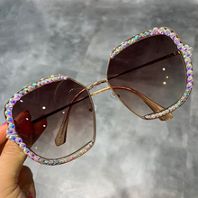2019 sunglasses women  Luxury Rhinestone square Sun glasses clear lens Oversized men Vintage Shades