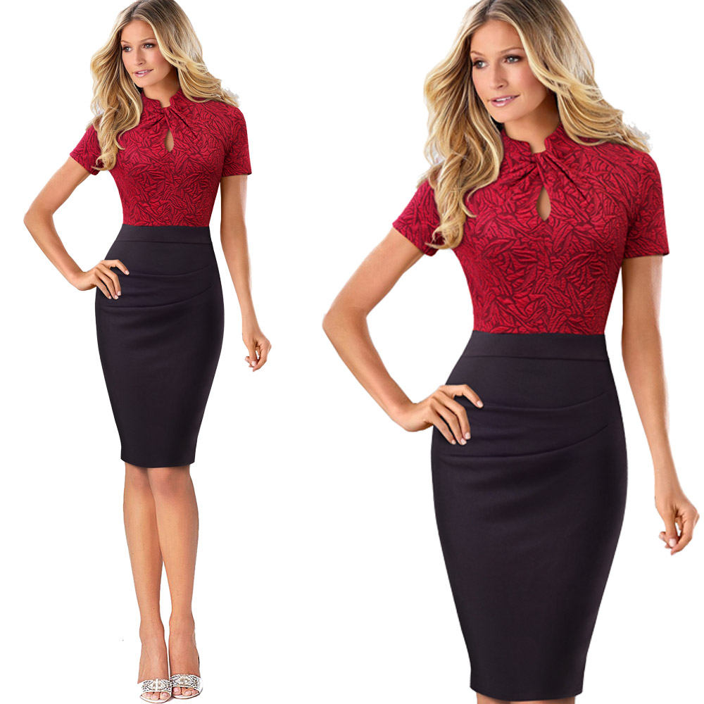 Nice-forever Vintage Contrast Color Patchwork Wear to Work Knot vestidos Bodycon Office Business Sheath Women Dress B430 16