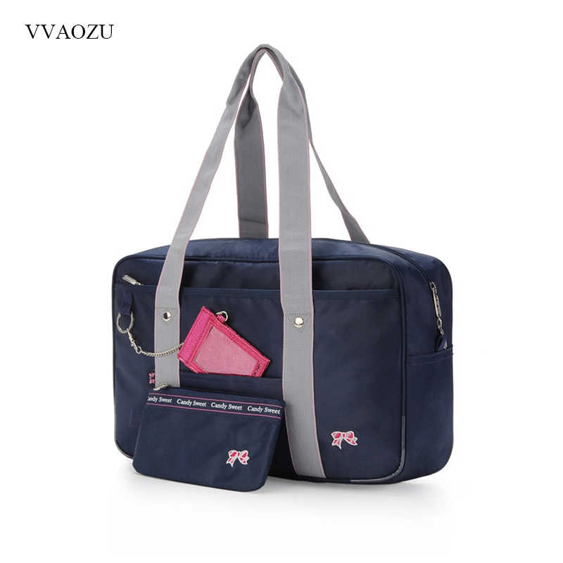 Bow College JK Uniform Bag Japanese Student School Shoulder Bag Portable Lolita Handbag