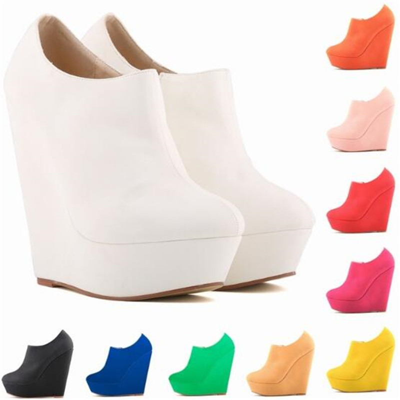 Ankle Boots Women's Flock ZIP 14CM Wedges Round Toe Waterproof platform white Short Boot Party OL Office Woman shoes
