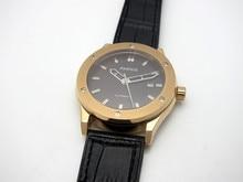 2016 Nueva 43mm Parnis Café Dial Cristal de Zafiro de Oro Caso Reloj de Manera Automática