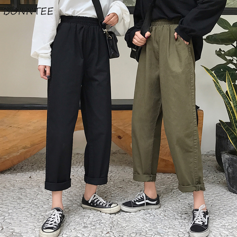 Jeans Women High Elastic Waist Black Loose Womens Bottoms Simple Solid All-match Cargo Pant Casual Chic Trousers Leisure Female