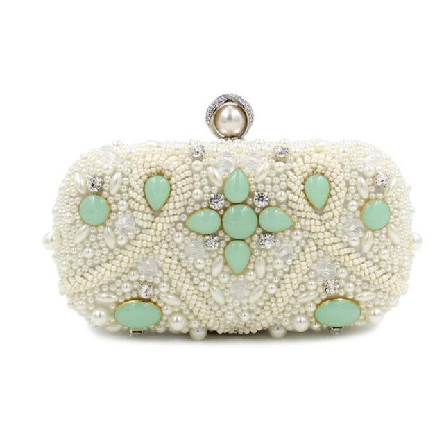 2016 New Style Fashion Pearl Evening Bag Colored Beaded Flower Clutch Bag Big Pearl Head Hand Bag Chain Purses Wallet S375