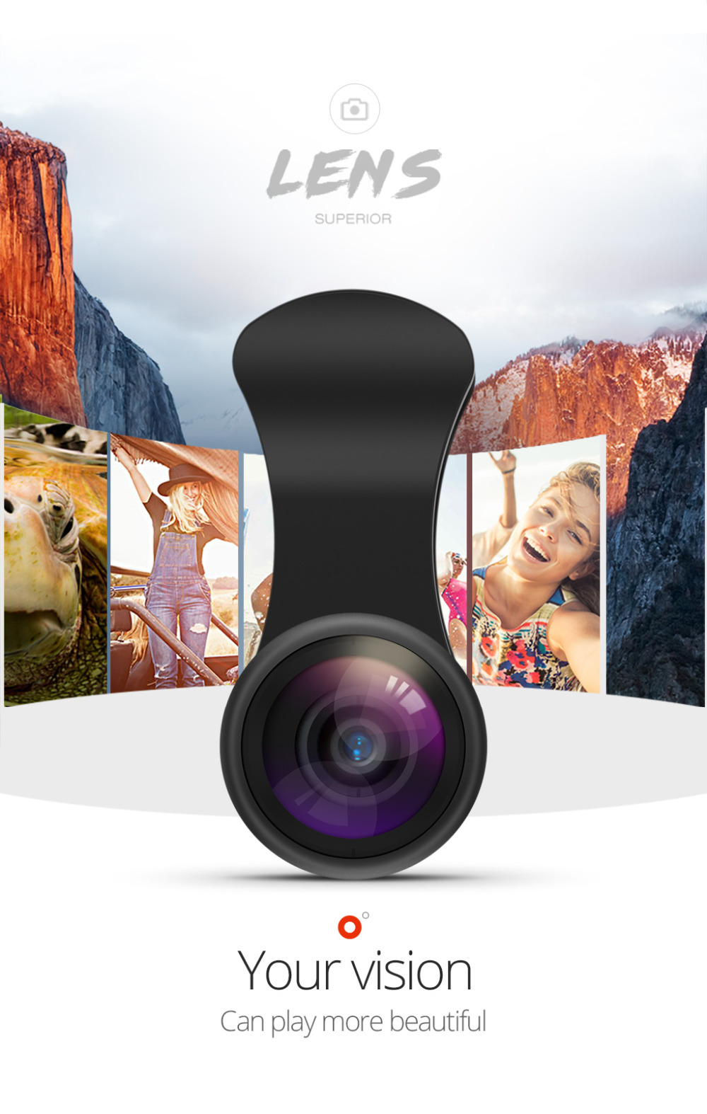 TORRAS Mobile Phone Lens Wide Angle Fish Eye Clip-on Alloy Metal Cell Phone Camera Lens Kit 15X Macro For iPhone Lens with Case 3