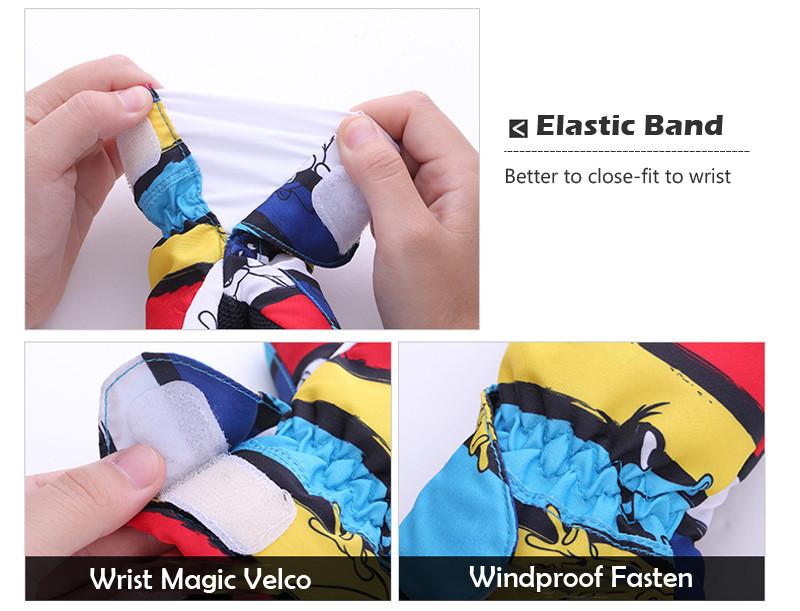 Queshark Waterproof Children Kids Winter Warm Skiing Gloves Snow Sport Mittens Outdoor Ski Snowboard Cyling Gloves 7