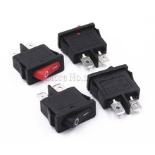 Power-Switch Small-Instrument Black KCD1-110 10x22mm 10PCS 250V 125VAC Red 10A 6A Ultrathin