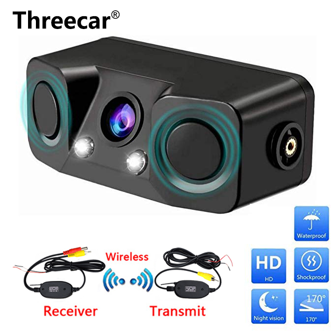 3 In 1 Video Parking Radar Detector Sensor Car Reverse Backup Rear View Camera With Wireless Rear View Transmitter & Receiver