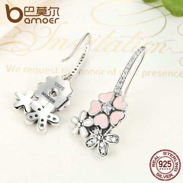 925 Sterling Silver Pink Daisy Cherry Blossom Drop Earring 4