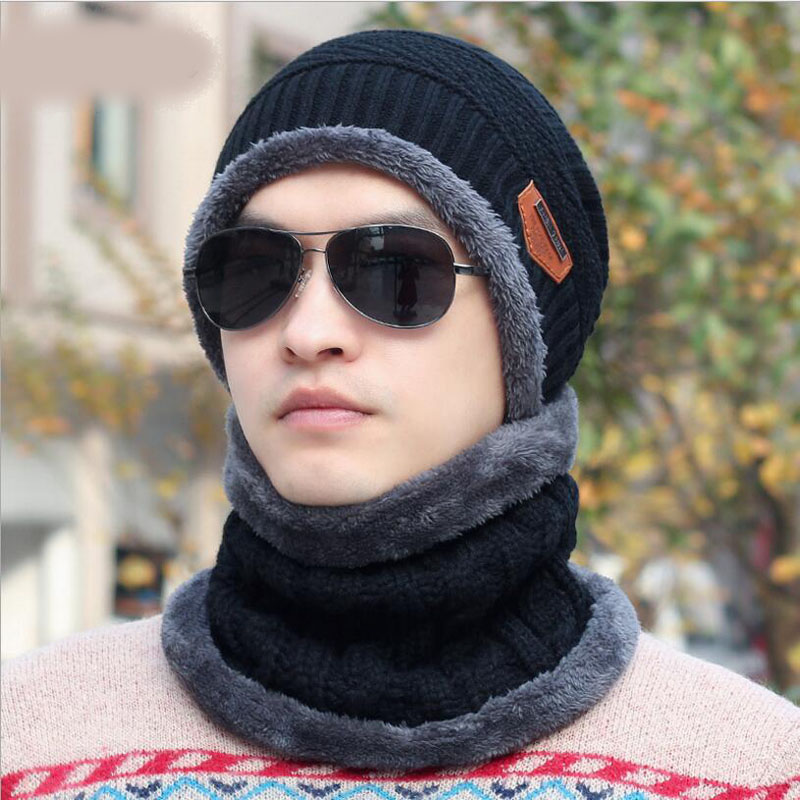 Balaclava Knitted Hat Scarf Caps Neck Warmer Winter Hats For Men Women Skullies Beanies Warm Fleece Cap