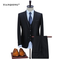 TIAN QIONG Formal Business Suits Jacket Vest Pants Costume Male Slim Fit Suits Groom Tuxedo Classic