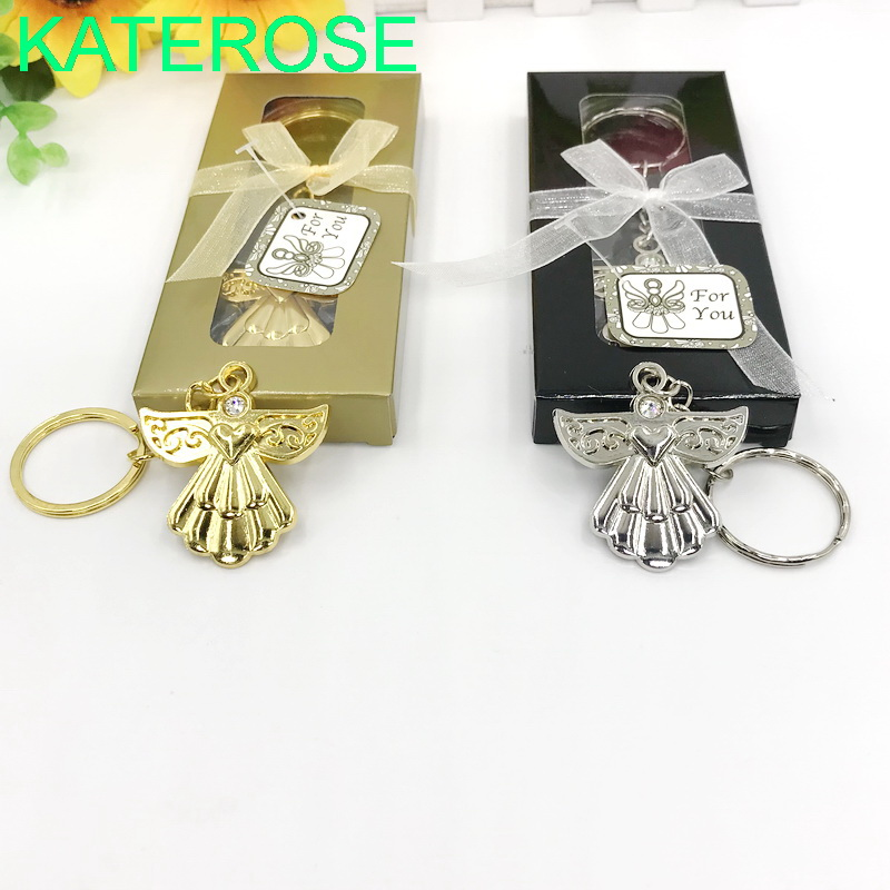 20PCS Cheap Wedding Party Souvenir Guardian Angel Keychain Ring Silver/Gold Key Chain Baby Shower Favors
