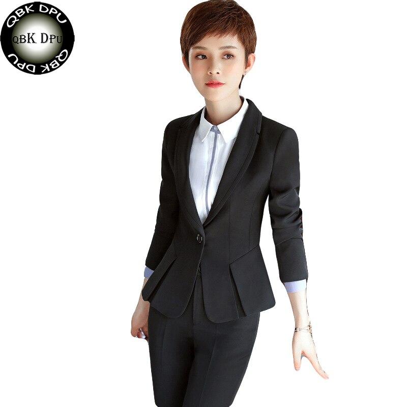 QBKDPU High-quality Formal leader blazer feminino 2017 New casual charm black blazer pant suits plus size 4xl business suits