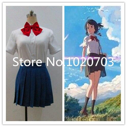 kimi no na wa your name mitsuha miyamizu summer suit cosplay costume