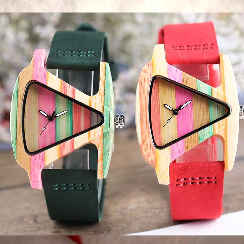 Montre en bois coloré Unique créatif forme Triangle cadran heure horloge femmes Quartz cuir Bracelet montre femmes poignet Reloj Mujer