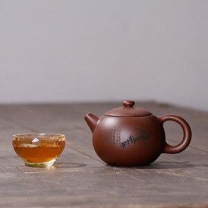 Image 5 - Фиолетовая глина Слива LAN бамбук Хризантема Shih чайник ручной работы горшок Исин Чайник чистая ручная работа