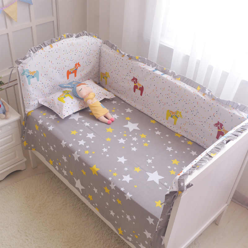 6Pcs/Set Baby Bedding Set Include Bumpers Sheet Pillowcase Baby Item Cartoon Kids Crib Sets Soft Infant Cot Bed Linens Washable