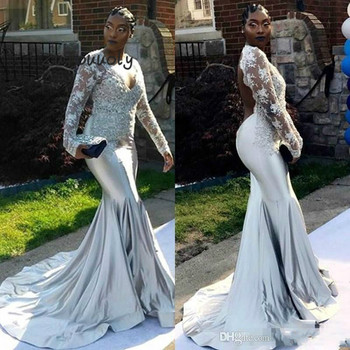 Long Sleeve Evening Dress Arabic Mermaid Evening Gowns V Neck Lace Appliques Backless Prom Dresses For Black Girls Plus Size