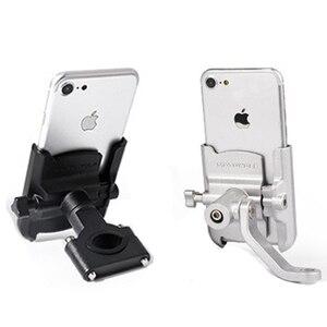 Image 1 - Kierownica ze stopu aluminium lusterko wsteczne stojak na telefon uniwersalna rowerowa rowerowa uchwyt na telefon do motocykla uchwyt motocyklowy