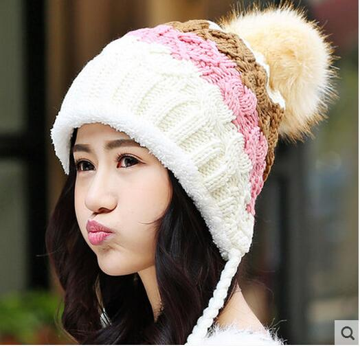 New Fashion real rabbit fur knitted Hats & Caps Cute Female rabbit Fur Ball Handmade Knitting Hats plus thermal ear protect hats
