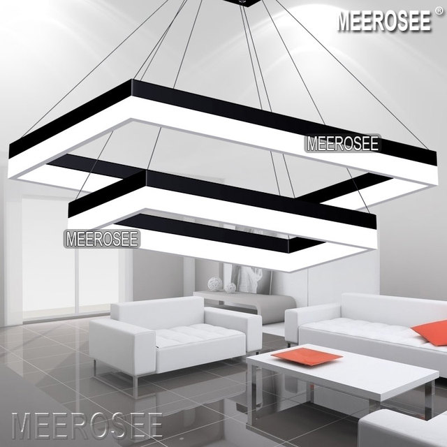 LED Pendant Light Modern Rectangle Black Suspension Fixture Gold Dining Room Lamp