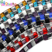 OlingArt 14*9*9MM 12pcs Glass crystal Metal plating Mixed multicolor Triangle shape beads DIY necklace Bracelet jewelry making