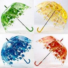 Rainny зонтов оставляет флягодержатель paraguas солнечный ясно зонтик прозрачный симпатичные цветов