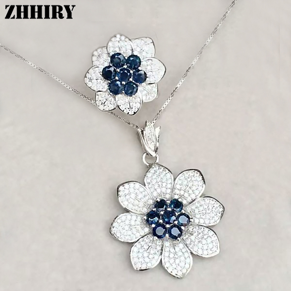 ZHHIRY Sapphire Gemstone Jewelry Set Genuine solid 925 Sterling Silver Ring and Necklace Sets 100% Natural недорого