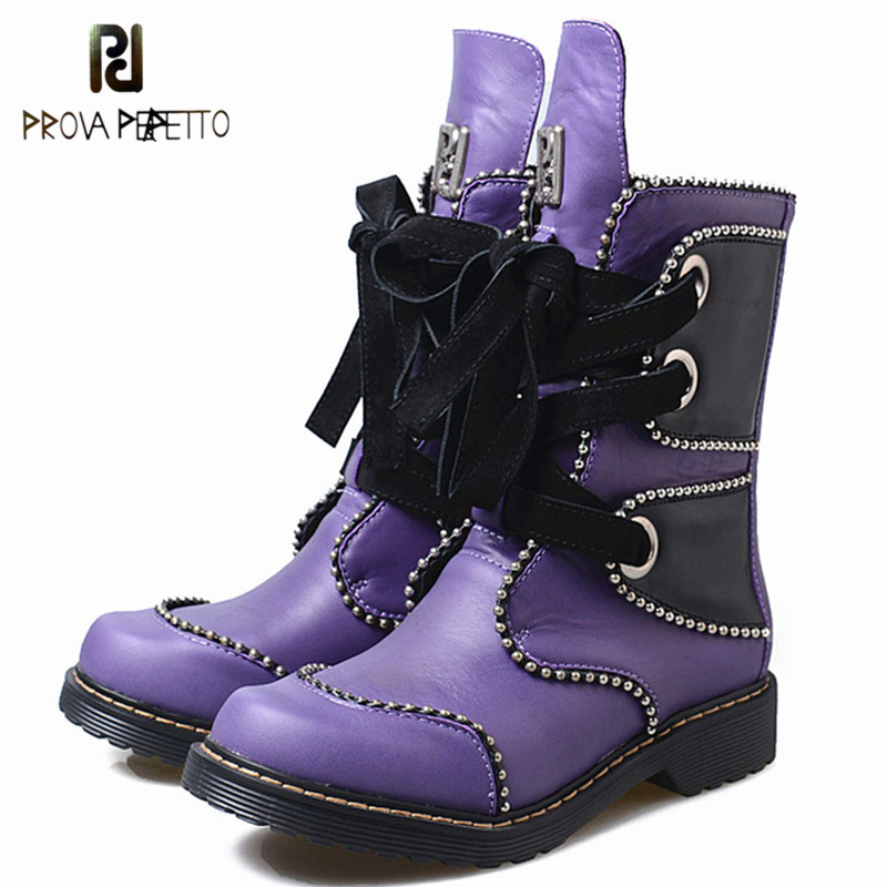 Prova Perfetto New Purple Genuine Leather Short Boots For Women Rivet Beading Lace Up Boots Autumn Winter Low Heel Martin Boots цена 2017