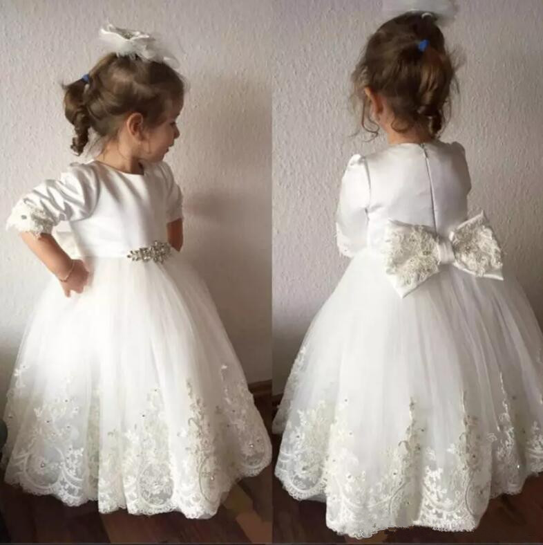 White Lace Appliques Baby Girls Birthday Dress Ball Gown Flower Girl Dress for Wedding with Bow white chiffon black sash bow flower girl dress white country wedding baby girls dress tulle rustic baby birthday dress