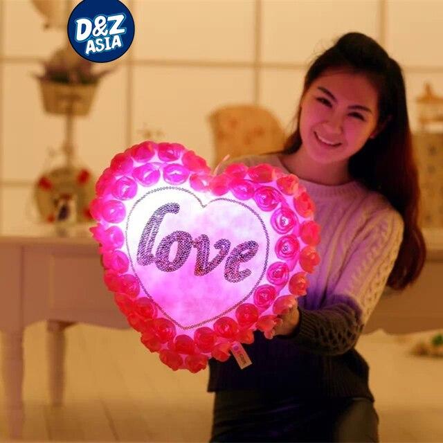 Плюшевые форме сердца подушка световой подушка плюшевые игрушки розы свадьба подушка красочный свечение, мигает подушку