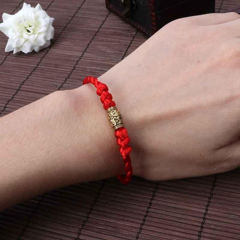 Hecho a mano chino Feng Shui cábala de la suerte pulseras de hilo rojo joyería tibetana pulsera exquisita de moda