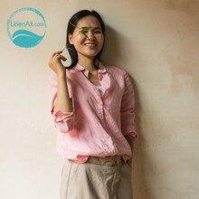 LinenAll women's 100% linen long-sleeve  brief shirt fruit freen, pink, white and black shirt all-match female