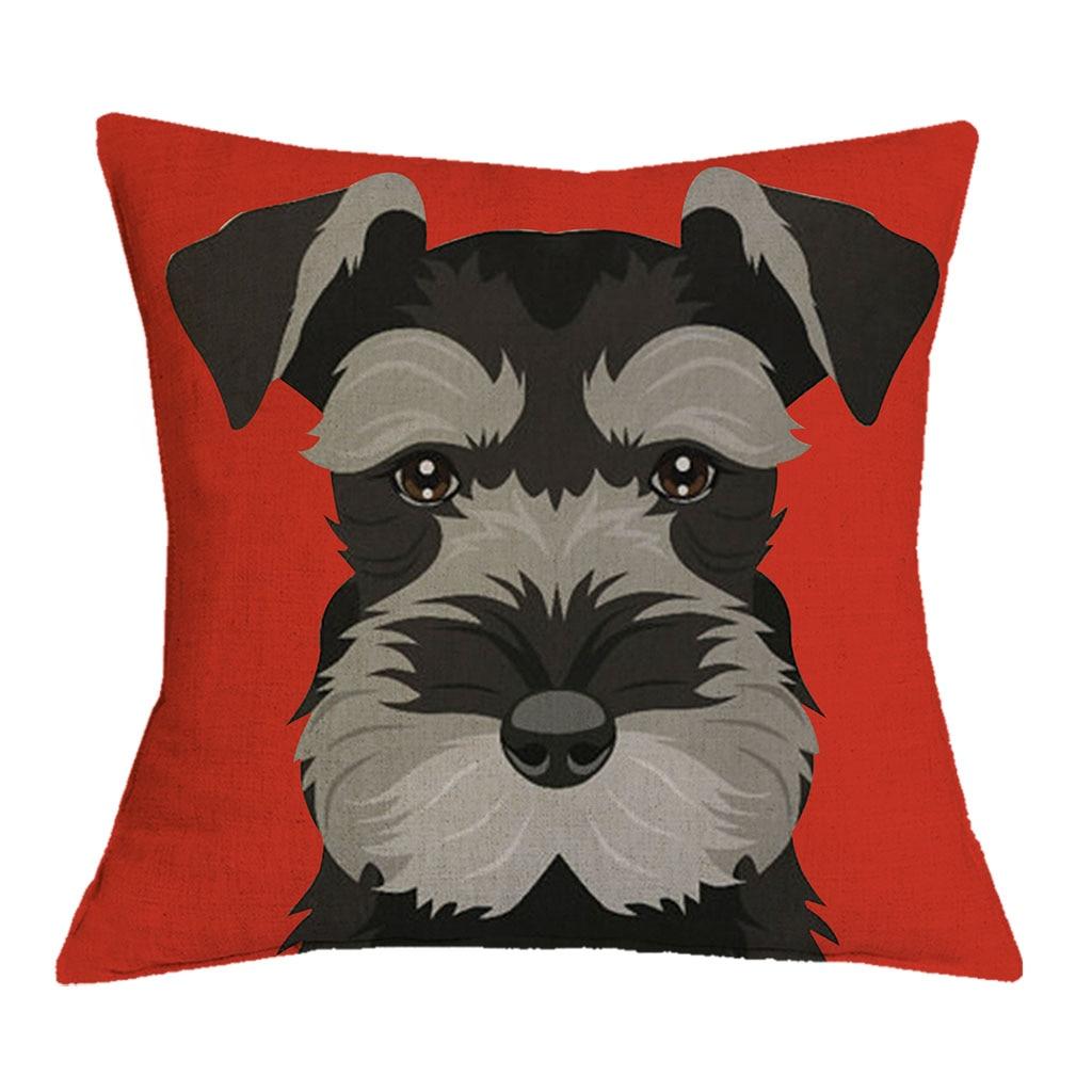 Dropshipping Cushion Cover Christmas Festival Schnauzer 43X43cm Dog Pillow Cases Pillowcase Bedroom Sofa Decoration