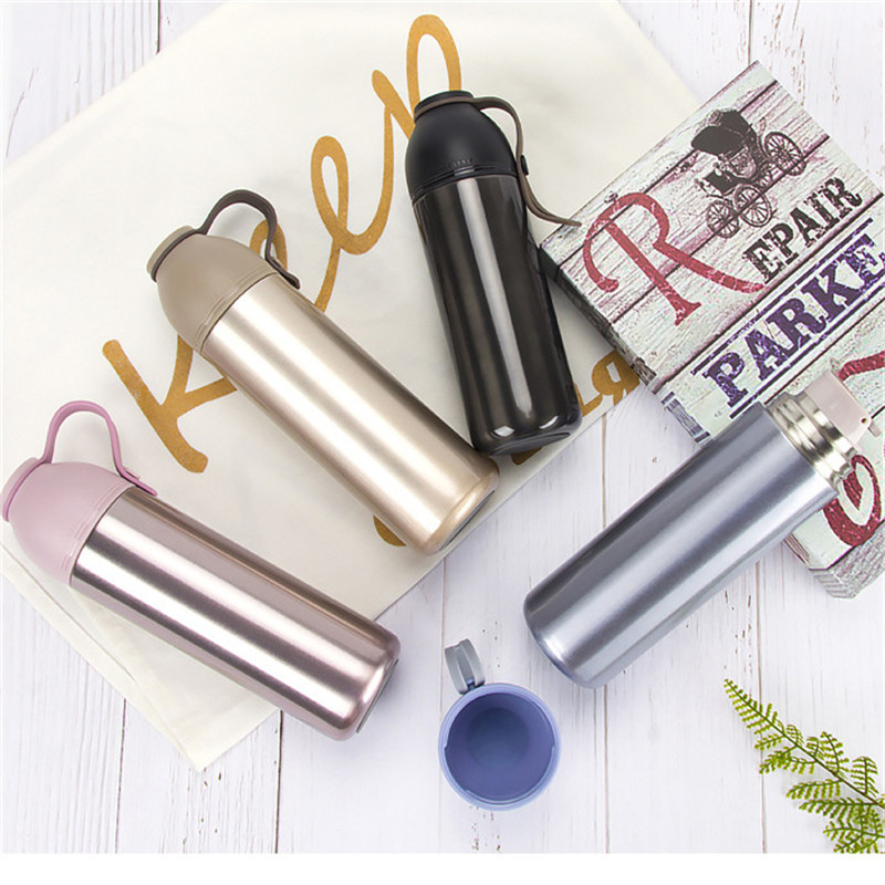 450ML Stainless Steel Vacuum Mug Travel Portable Water Thermos Flask Snap Cap Vacuum Cup Office Coffee Hot Drinks Thermos Bottle