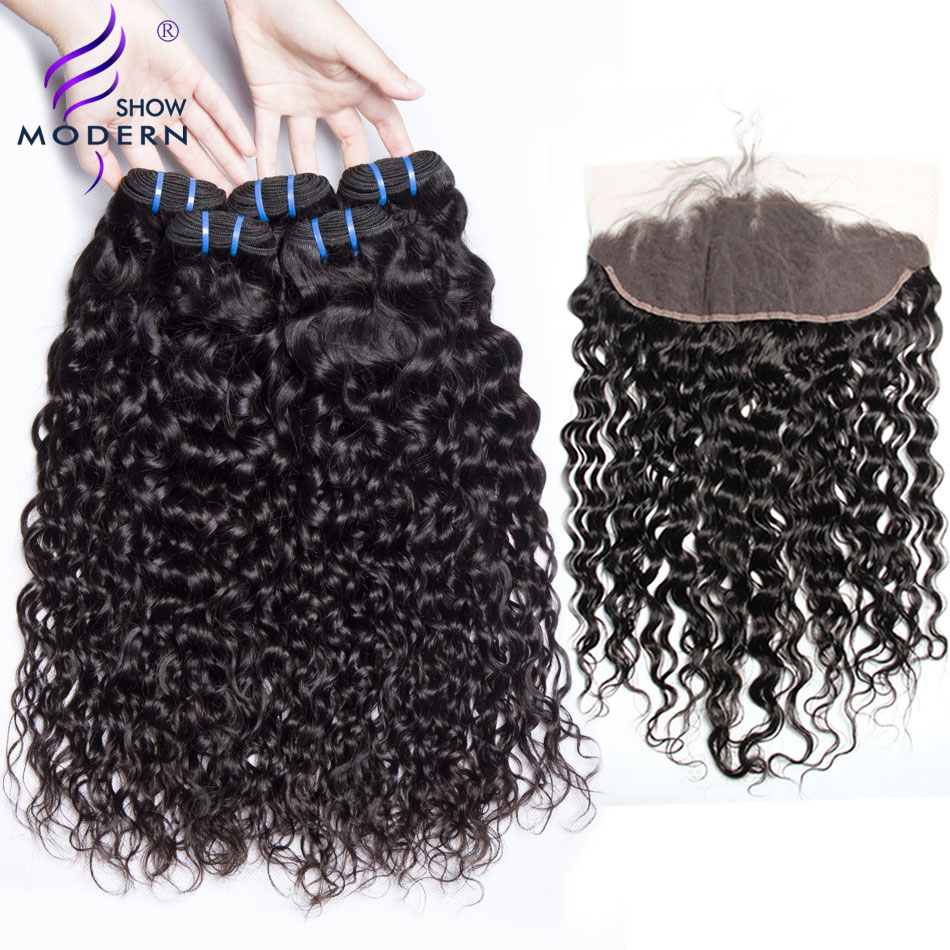 Water Wave Bundles With Closure 3 Bundles Brazilian Hair Weave Non Remy Human Hair Lace Frontal Closure With Bundles 4 PCS