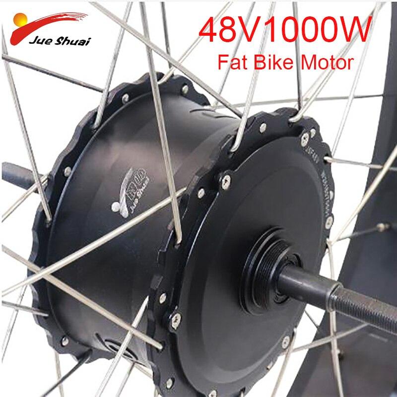 4.0 fatbike motor 48 v 1000 w motor sem escova do cubo ambos terno v freio a disco de freio à prova dwaterproof água fio de alta velocidade traseira e-bike motor roda