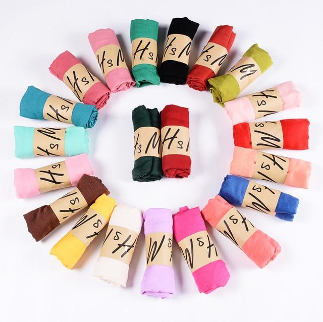 Neue Ankunft 45*180 CM Klassische Premium Viskose Maxi Crinkle Wolke Hijab Schal Schal Weichen Islam Muslim Schals Winter mädchen Schal