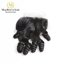 """4X"""" Funmi пружина для волос завиток кружева закрытие натуральный черный свободный расставание или средний пробор 8-16"""" Mayflower Remy Продукты для волос"""
