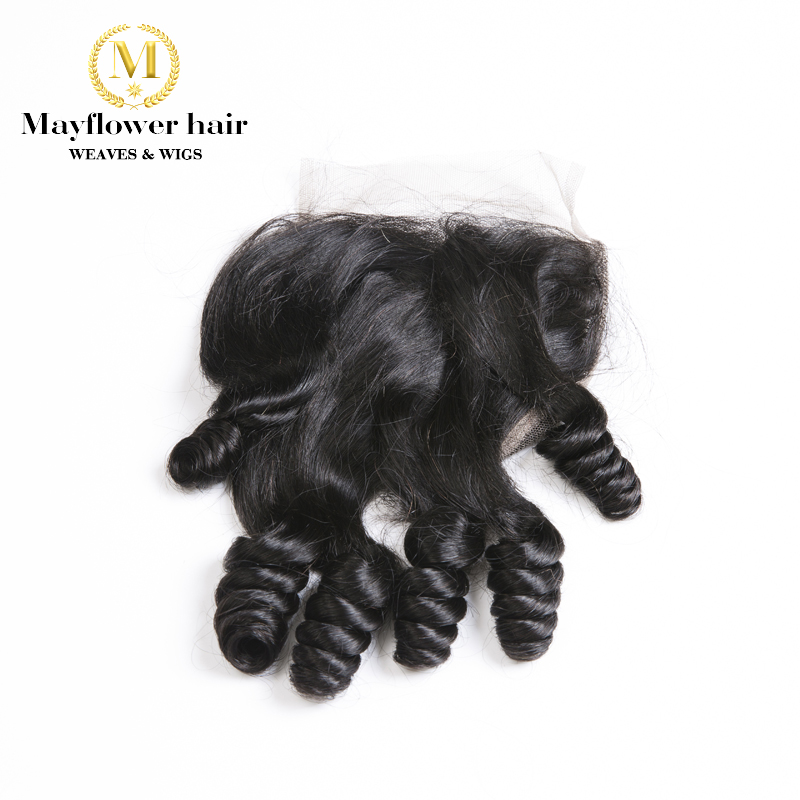 """4X4"""" Funmi Hair Spring Curl Lace Closure Natural Black Free Parting Or Middle Parting 8-16"""" Mayflower Remy Hair Products"""