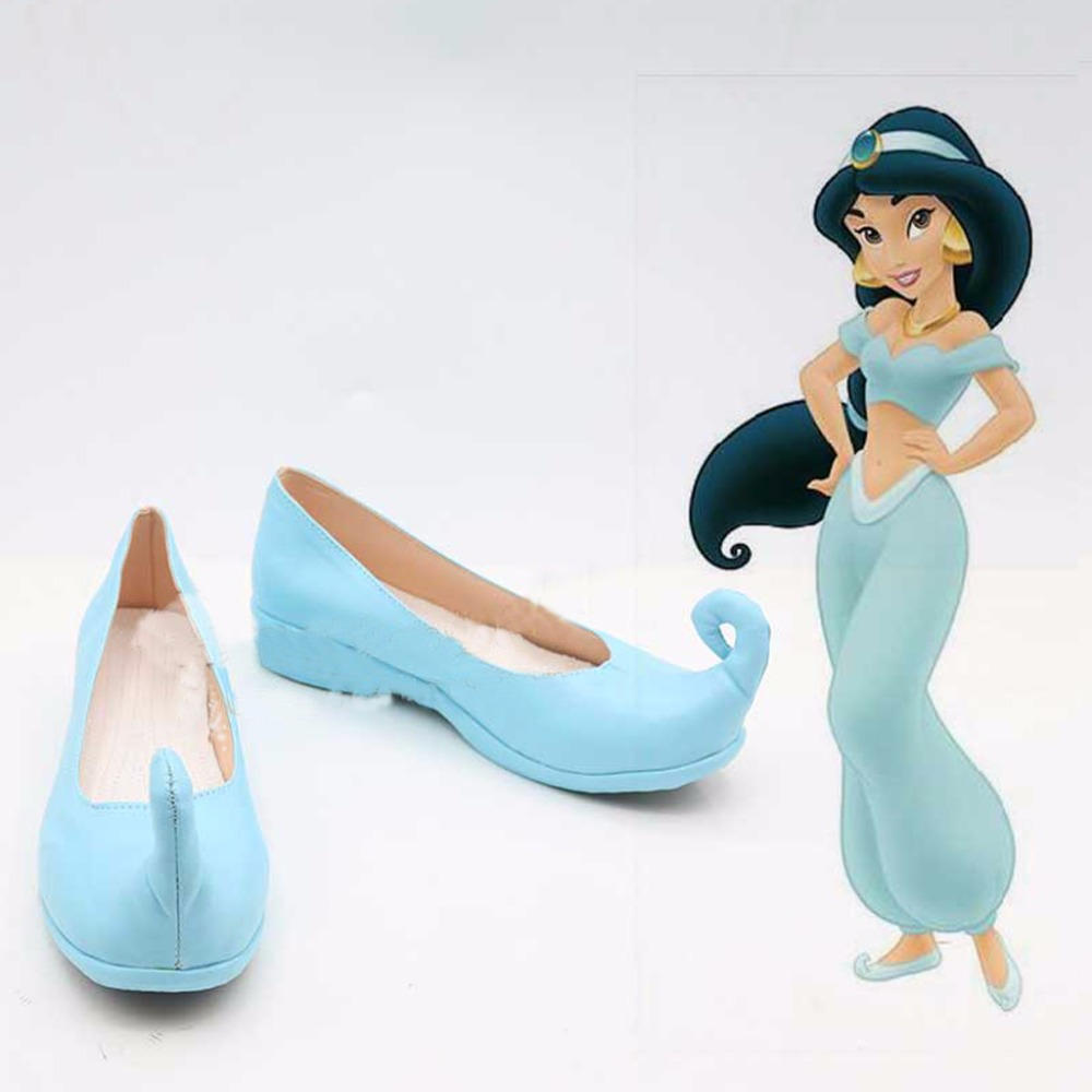 Aladdin Jasmine Blue Cosplay Shoes Boots Princess Halloween  Carnival Party Costume Accessories For Women